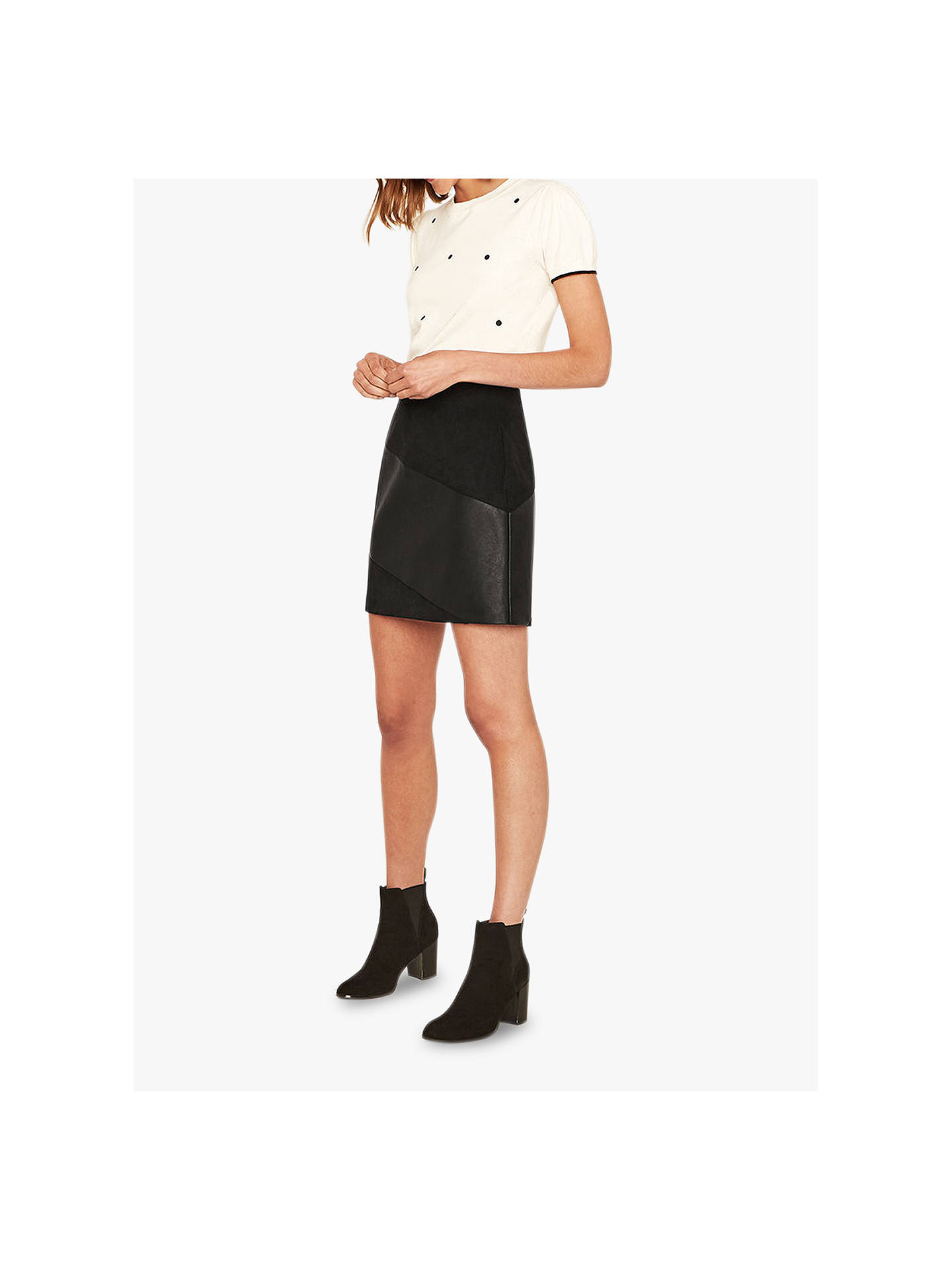 0bdbc3a105ac Buy Oasis Faux Leather Patch Skirt, Black, 6 Online at johnlewis.com ...