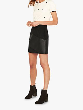 Oasis Faux Leather Patch Skirt, Black