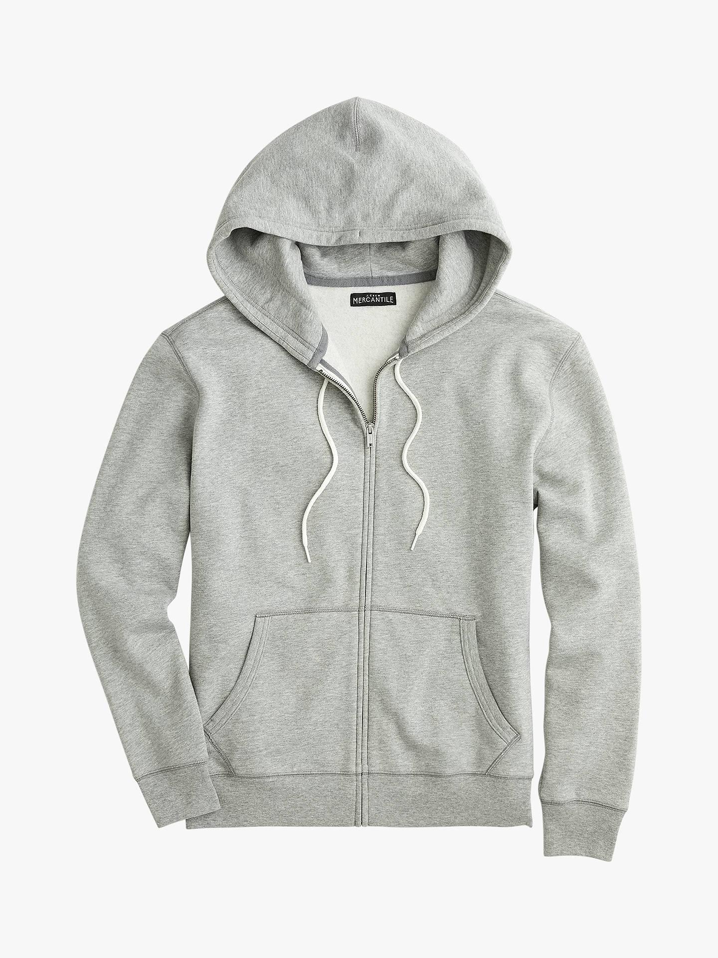 14ecedf08 Buy J.Crew Brushed Fleece Zip Sweatshirt, Heather Grey, L Online at  johnlewis