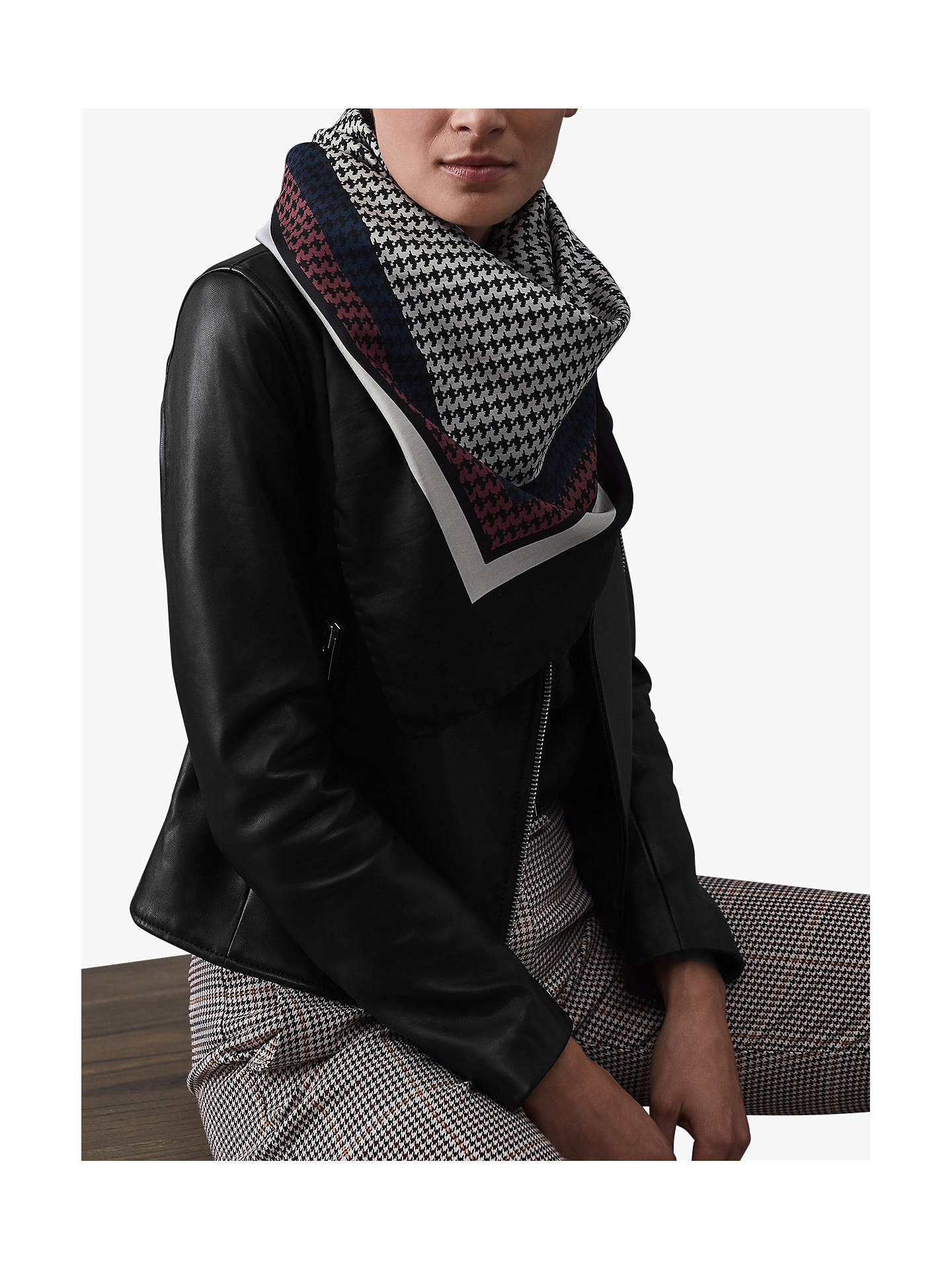 Buy Reiss Ruby Dogtooth Square Silk Scarf, Black/White Online at johnlewis.com