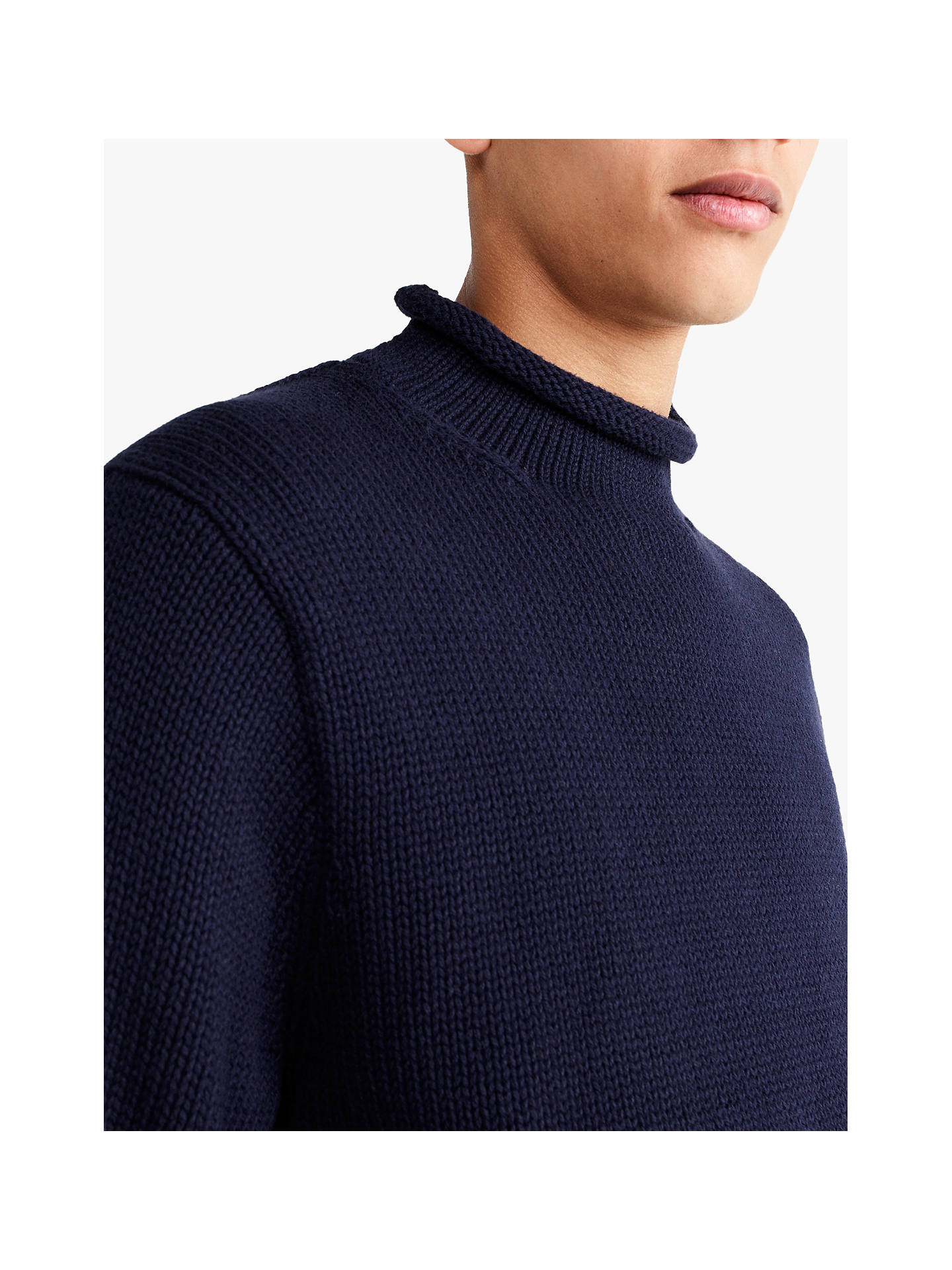 Jcrew Cotton Solid Roll Neck Jumper Navy At John Lewis Partners