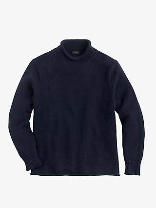 J.Crew Cotton Solid Roll Neck Jumper, Navy