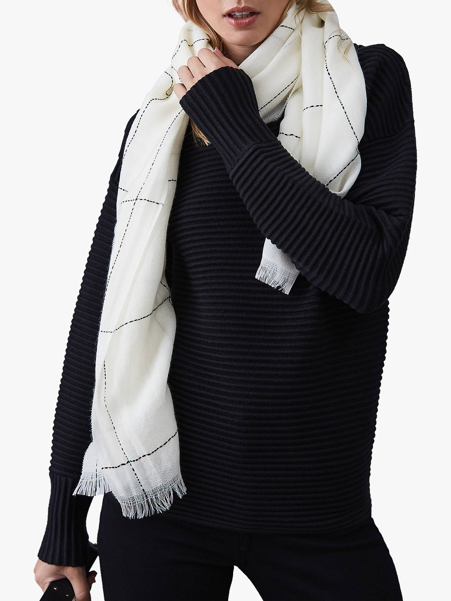 BuyReiss Kimmy-White Check Print Scarf, White/Black, One Size Online at johnlewis.com