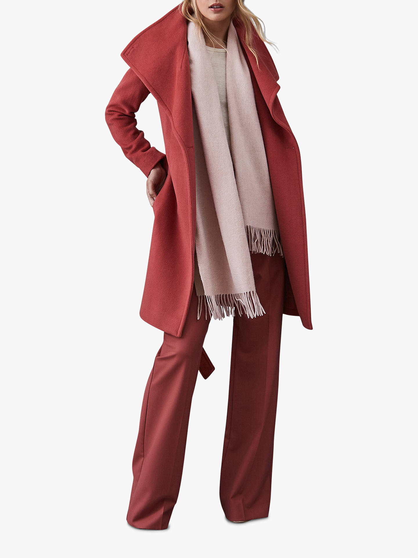 270f9715d ... Buy Reiss Saskia Lambswool and Cashmere Fringe Scarf, Neutral Online at  johnlewis.com