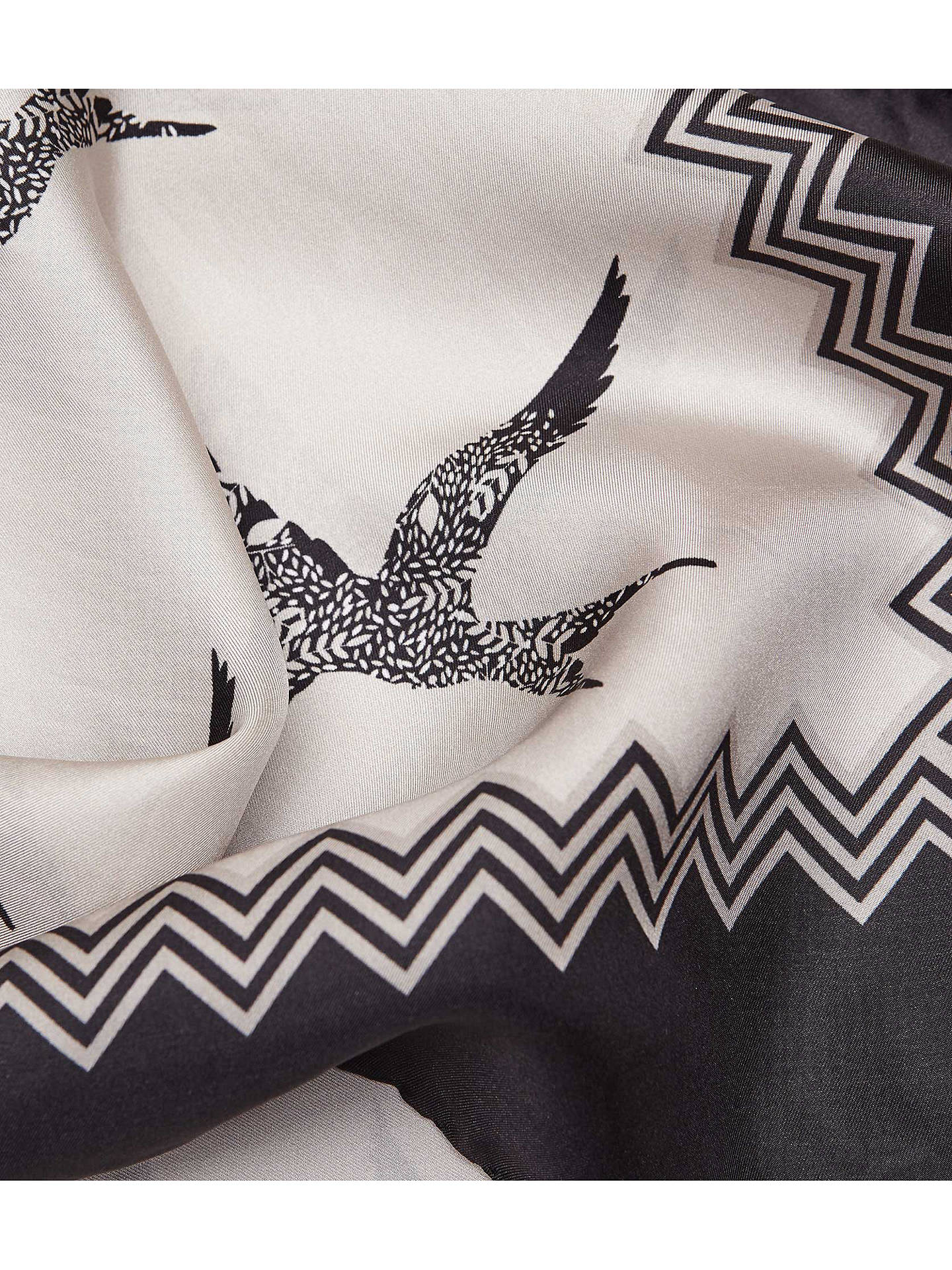 Buy Reiss Lila Bird Print Silk Scarf, Ecru, One Size Online at johnlewis.com