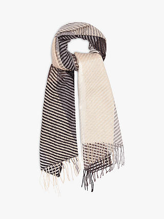 Buy Reiss Bailey Stripe Lambswool Scarf, Grey, One Size Online at johnlewis.com