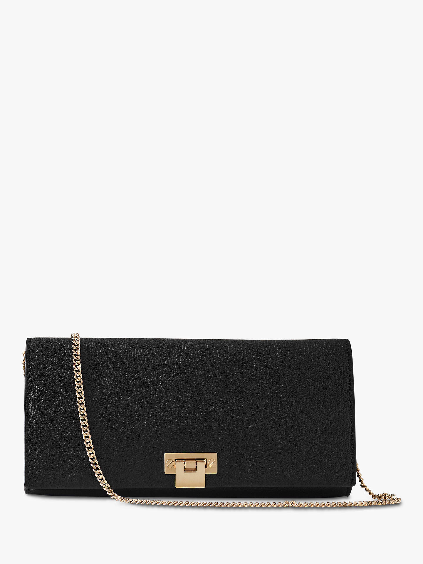 Reiss Audley Suede Clutch Bag Black Online At Johnlewis
