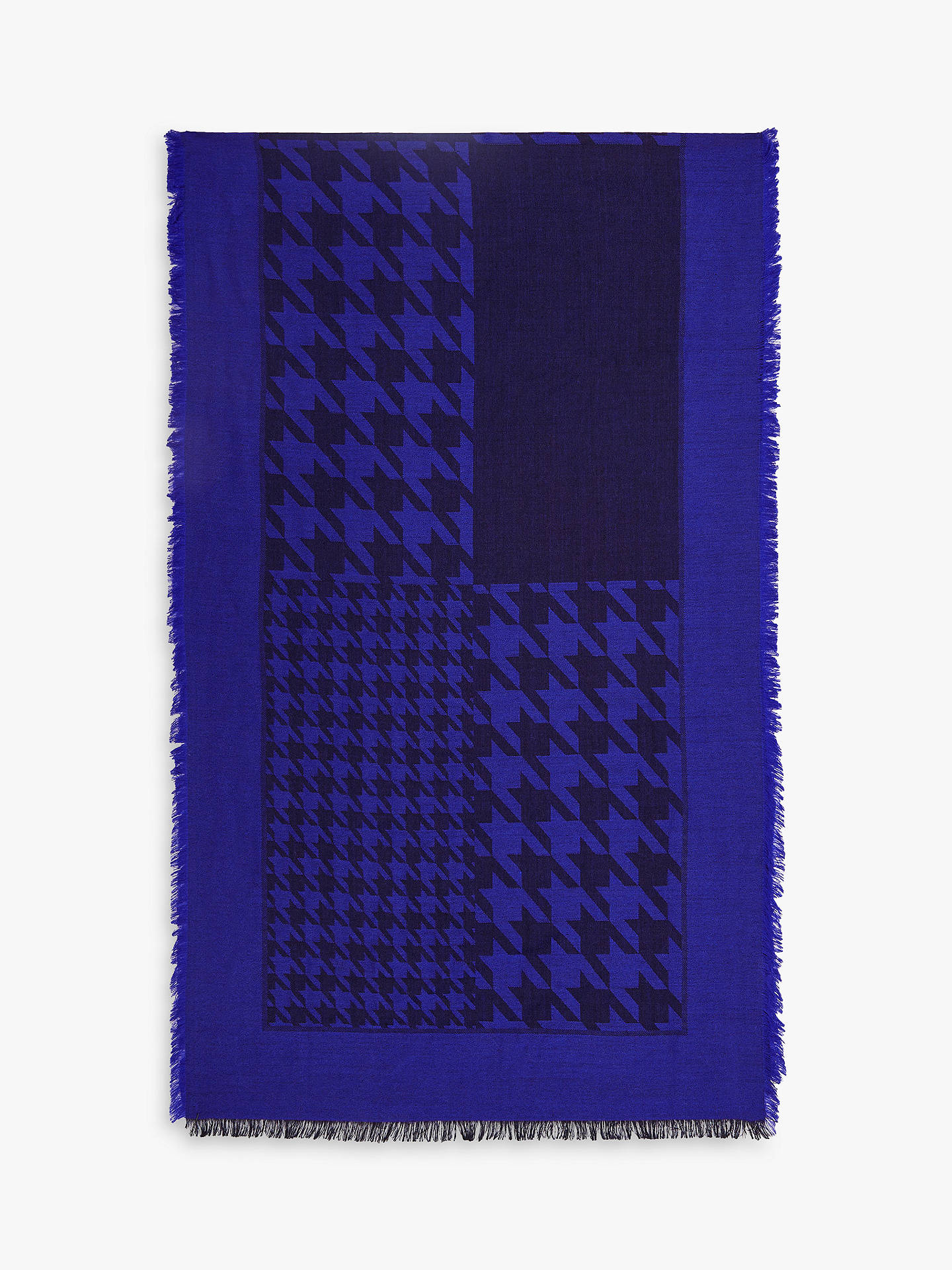 Buy Reiss Dogstooth Lambswool Scarf, Cobalt, One Size Online at johnlewis.com