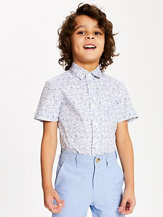 John Lewis & Partners Heirloom Collection Boys' Floral Shirt, Blue/White