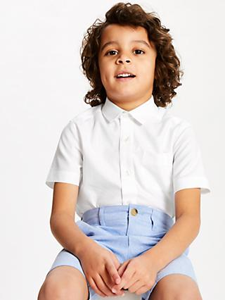 John Lewis & Partners Heirloom Collection Boys' Plain Textured Shirt, White