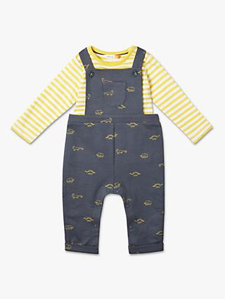 John Lewis & Partners Baby GOTS Organic Cotton Dungaree Set, Grey/Yellow