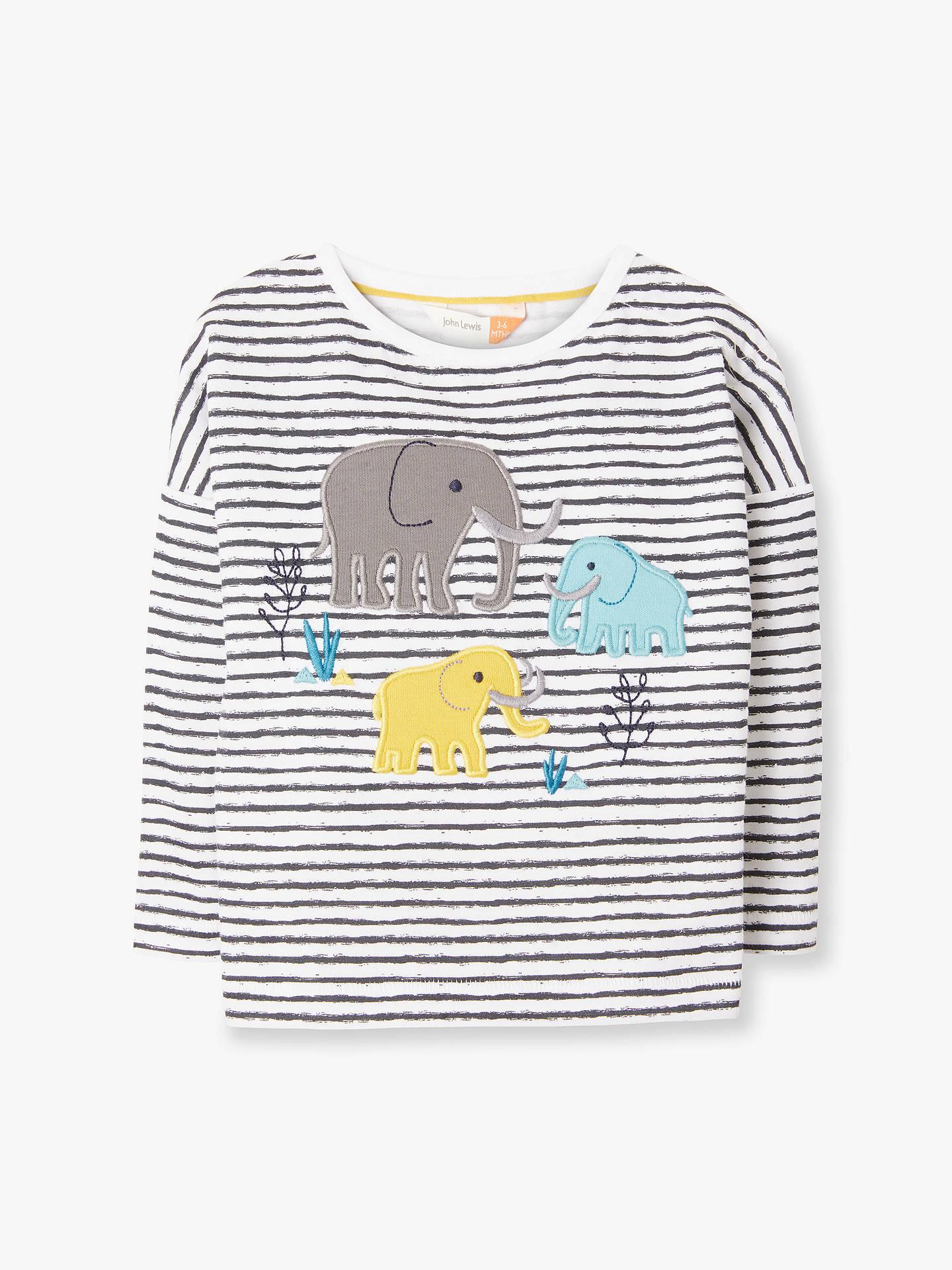 1e0e39bbc Buy John Lewis & Partners Baby GOTS Organic Cotton Mammoth Stripe T-Shirt,  Multi ...