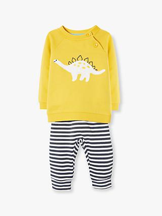John Lewis & Partners Baby GOTS Organic Cotton Dino Stripe Top and Joggers Set, Yellow/Multi