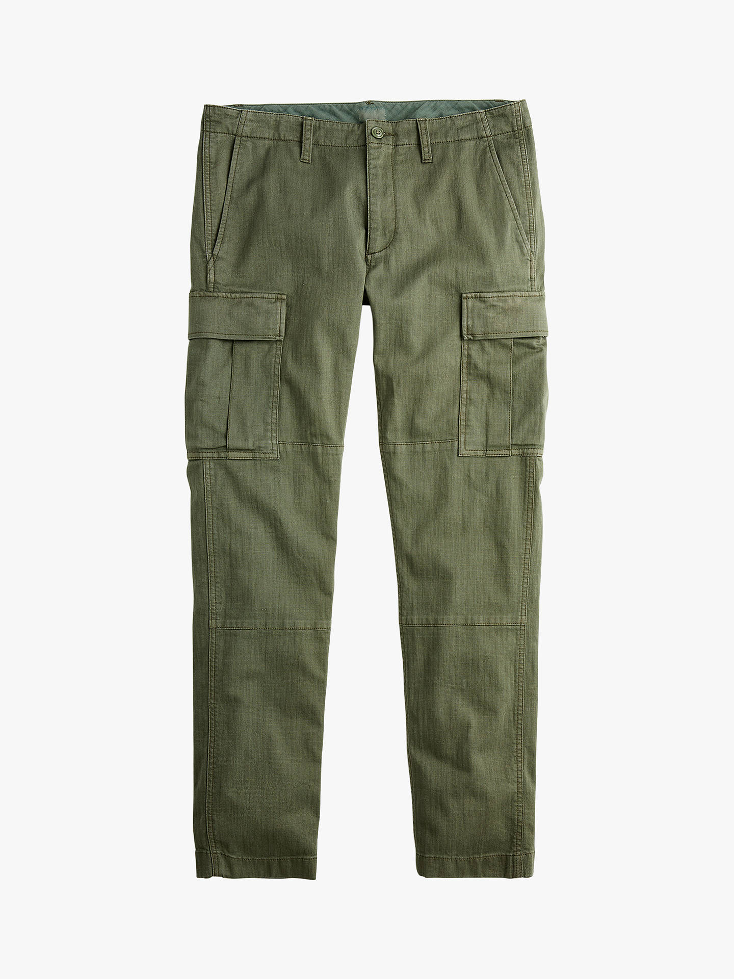1d303f6790fbac Buy J.Crew Slim Fit Cargo Trousers, Olive Green, 29R Online at johnlewis