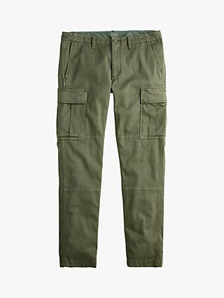 J.Crew Slim Fit Cargo Trousers, Olive Green