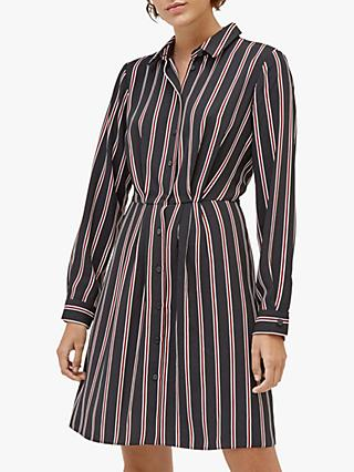 Warehouse Honey Stripe Shirt Dress, Black Stripe