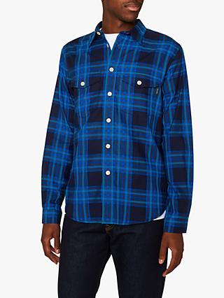 68b66a89 PS Paul Smith Double Pocket Check Long Sleeve Shirt, Blue