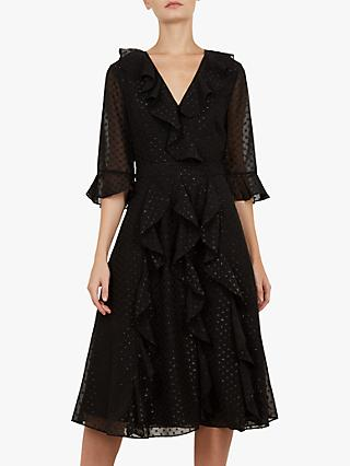 Ted Baker Ardeel Ruffle Fluted Sleeve Dress, Black
