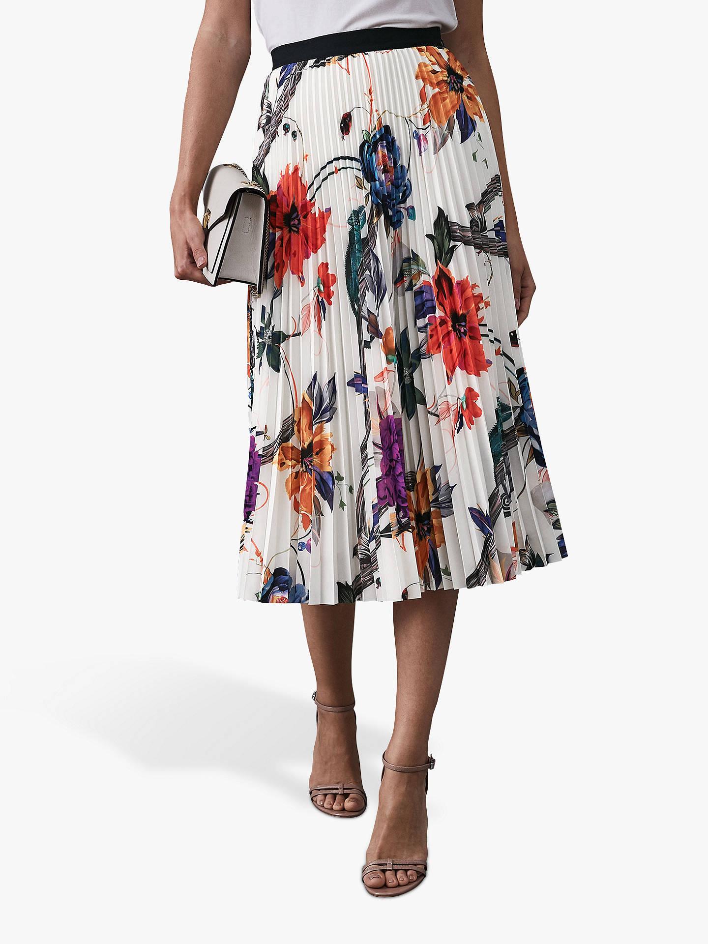 e2d25915d238 Buy Reiss Mya Bold Floral Print Pleated Skirt, White/Multi, 6 Online at ...