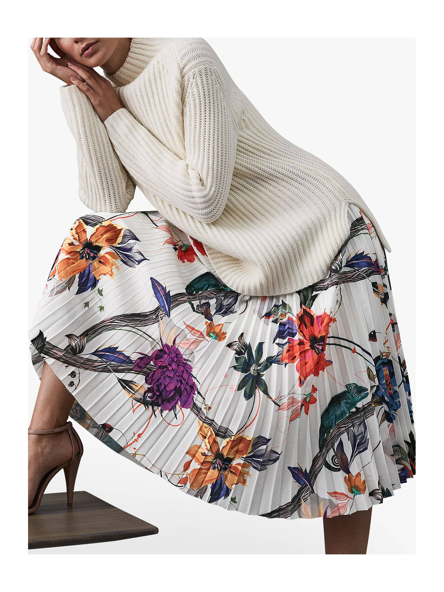 Buy Reiss Mya Bold Floral Print Pleated Skirt, White/Multi, 10 Online at johnlewis.com
