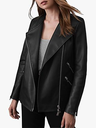 Reiss Marissa Long Leather Jacket, Black