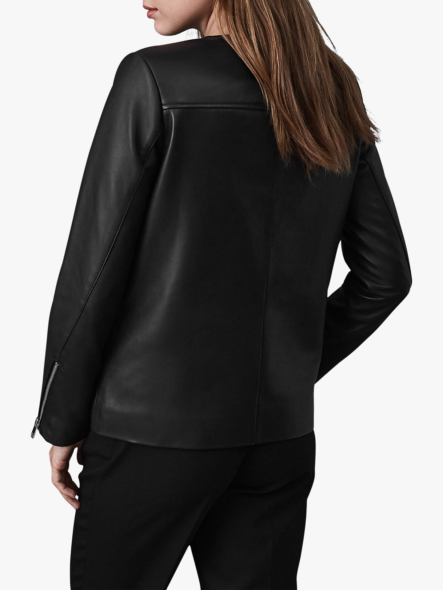 Buy Reiss Marissa Long Leather Jacket, Black, 8 Online at johnlewis.com