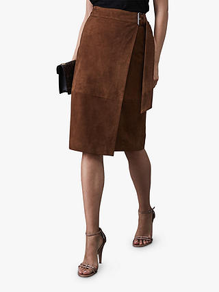 Buy Reiss Milly Suede Skirt, Mid Brown, 6 Online at johnlewis.com