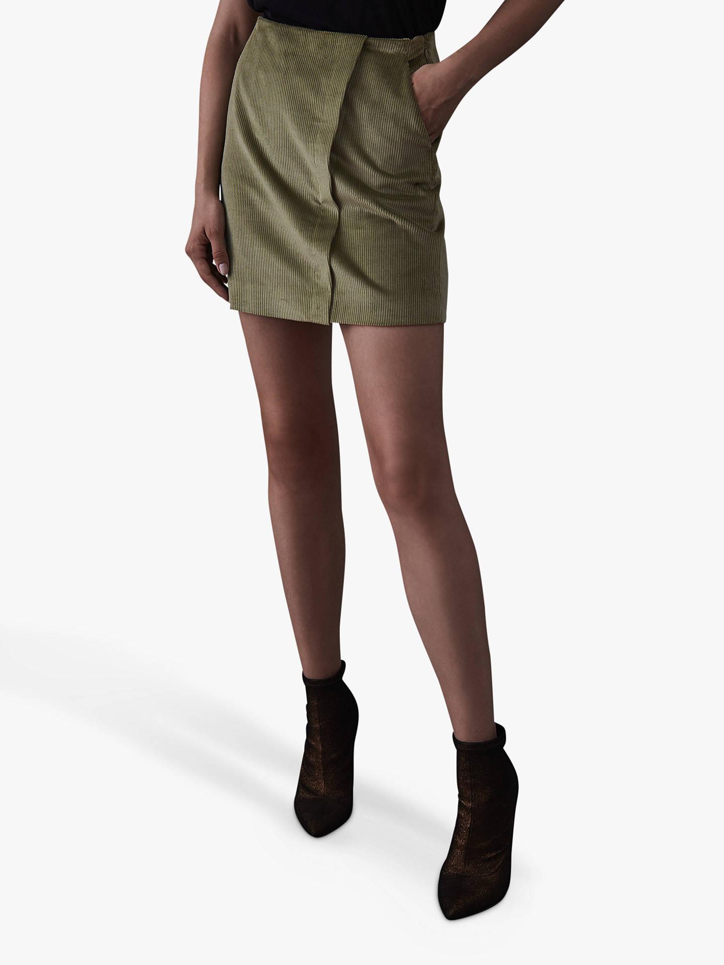 33d7ee95df Buy Reiss Francis Corduroy Mini Skirt, Green Mid, 8 Online at johnlewis.com  ...