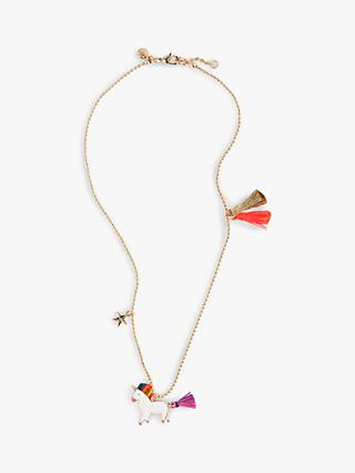 crewcuts by J.Crew Girls' Unicorn and Tassel Necklace, Warm Guava