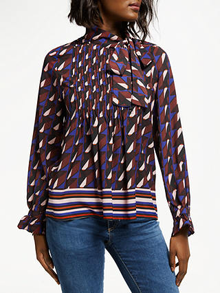 Buy SUNCOO Leontine Abstract Print Tie Neck Blouse, Burgundy/Multi, 10 Online at johnlewis.com