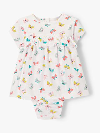 John Lewis & Partners Baby GOTS Organic Cotton Butterfly Print Top and Body Set, Multi