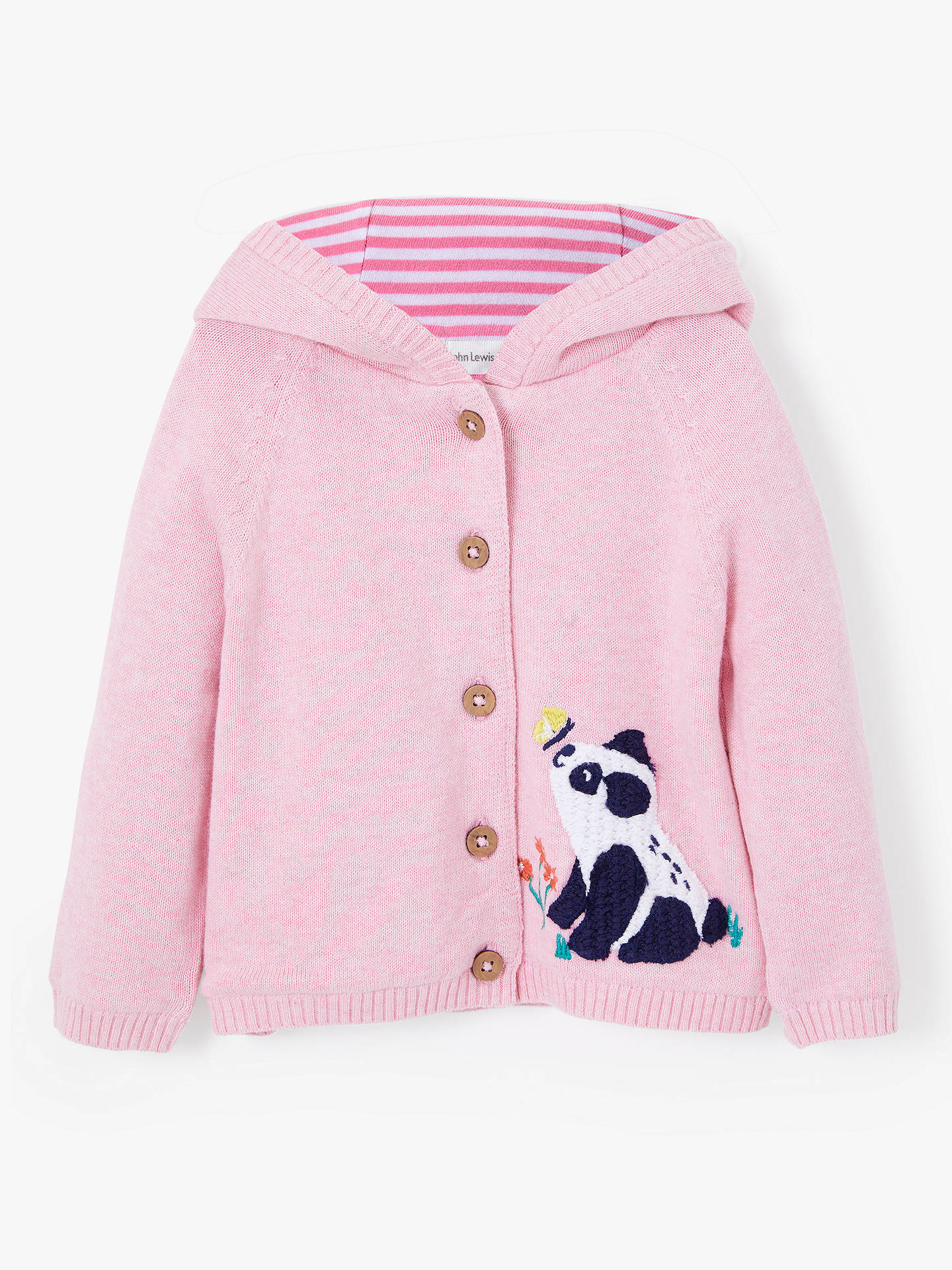 BuyJohn Lewis & Partners Baby Panda Crochet Cardigan, Pink, 9-12 months Online ...