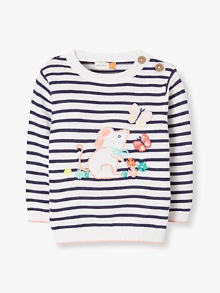 John Lewis & Partners Baby Stripe Mouse Jumper, Blue
