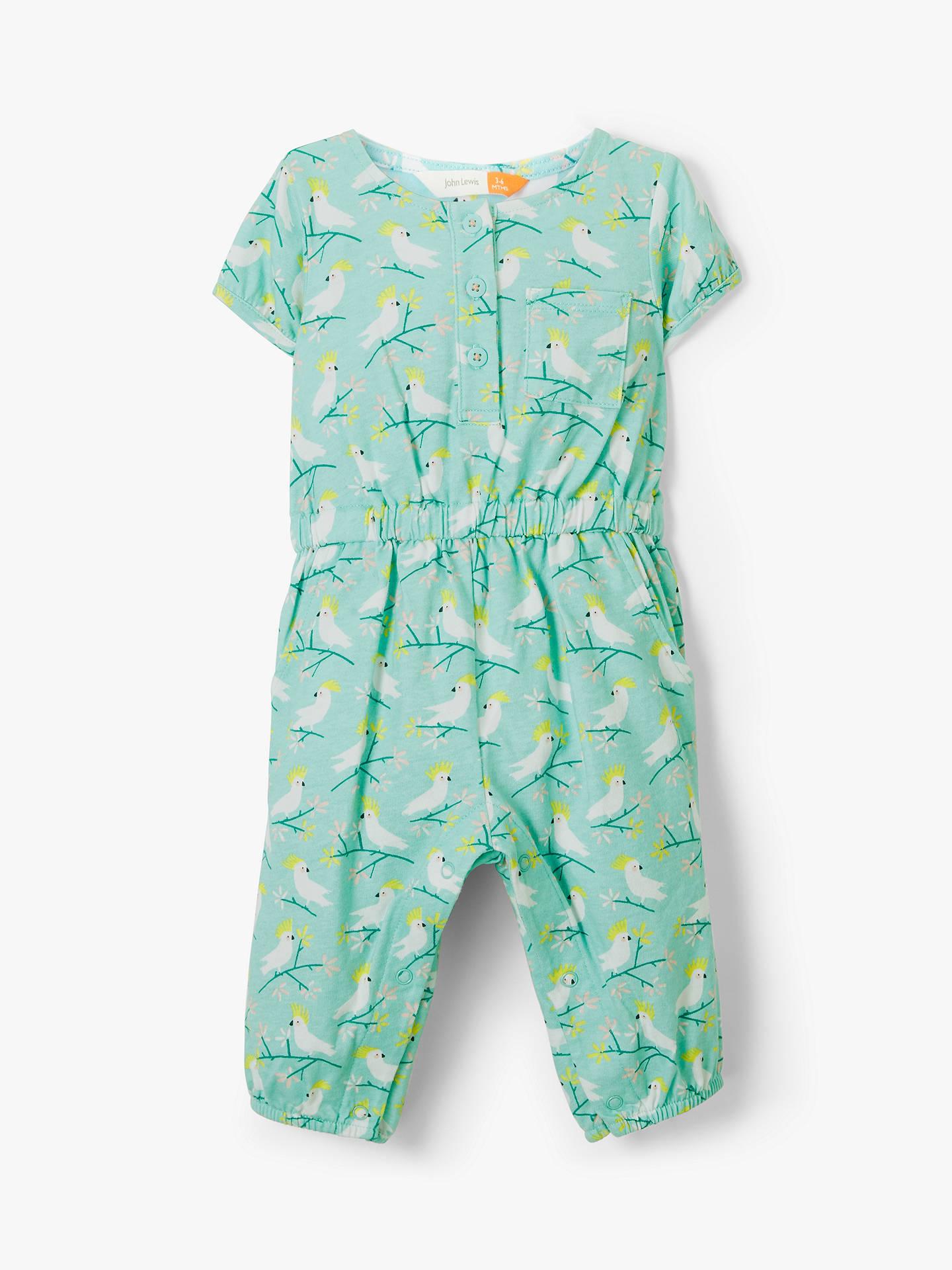 9c6a82830 Buy John Lewis & Partners Baby Bird Print Jersey Romper, Green, 12-18 ...