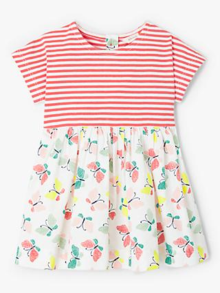 John Lewis & Partners Baby Butterfly Half and Half Dress, Pink/Multi
