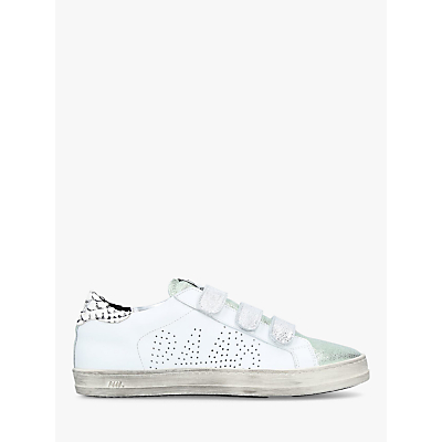 P448 E8 Ralph Rip Tape Trainers, White/Green Leather