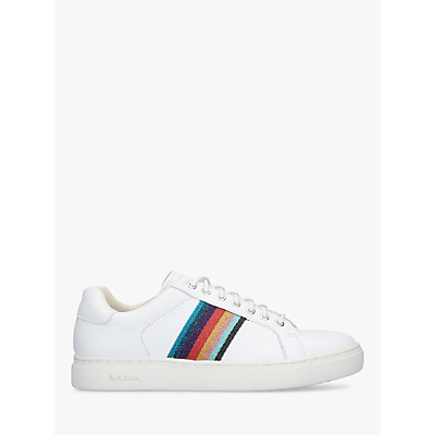 Paul Smith Lapin Stripe Lace Up Trainers, White/Multi Leather