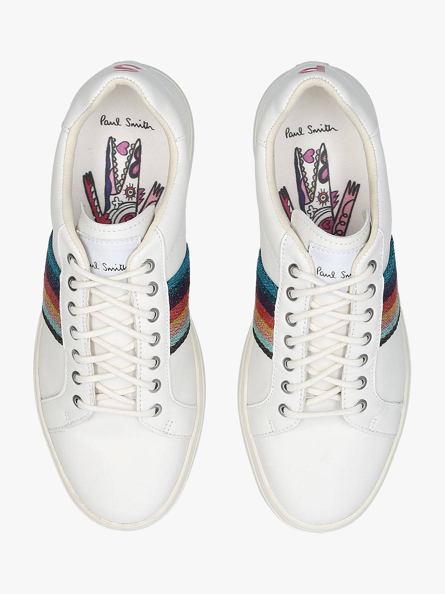 489feacddef8 ... Buy Paul Smith Lapin Stripe Lace Up Trainers, White/Multi Leather, 2  Online ...