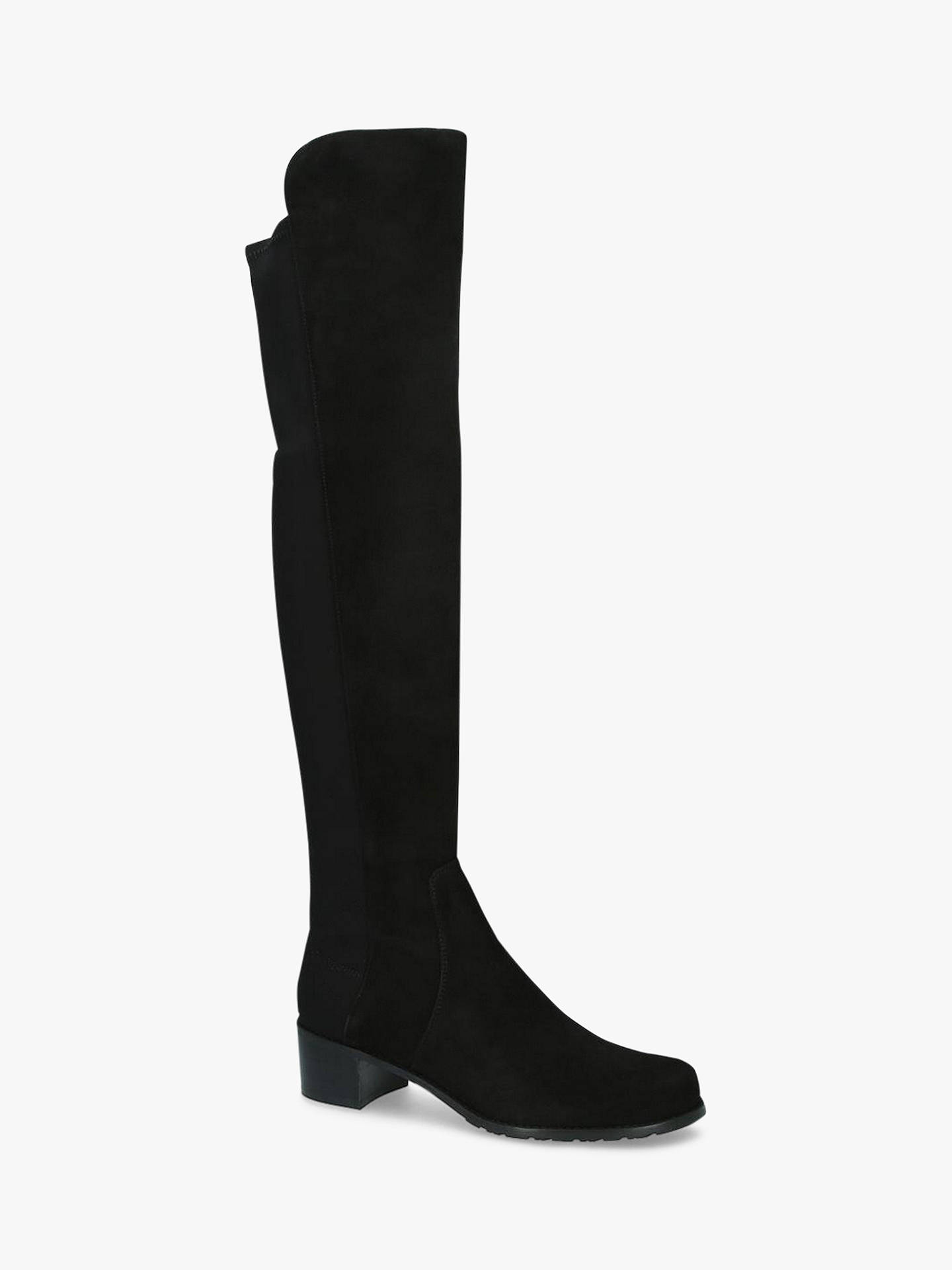 Buy Stuart Weitzman Reserve Block Heel Knee High Boots, Black Suede, 2 Online at johnlewis.com
