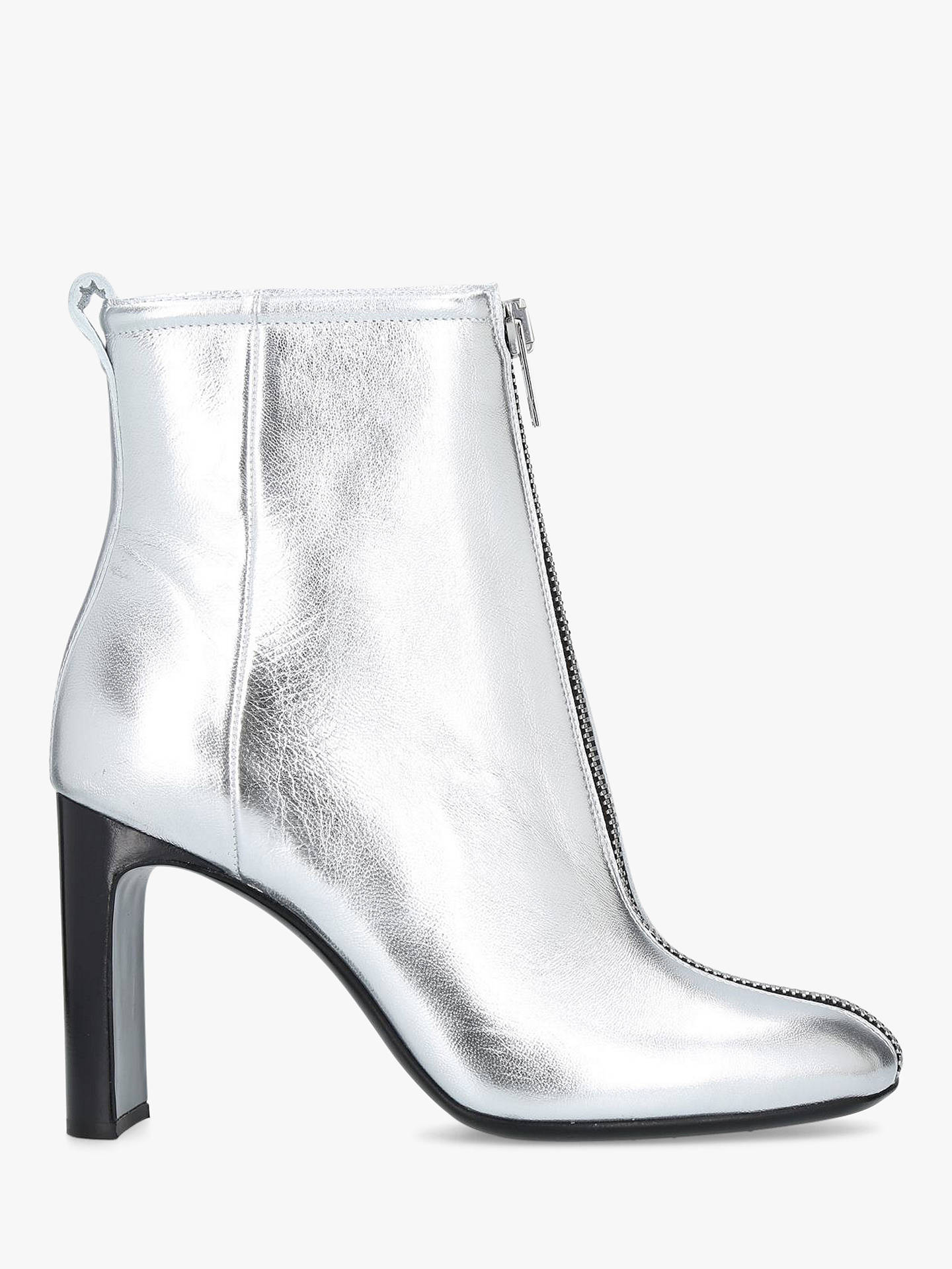 Buy rag & bone Ellis Front Zip Block Heel Ankle Boots, Silver Leather, 6.5 Online at johnlewis.com