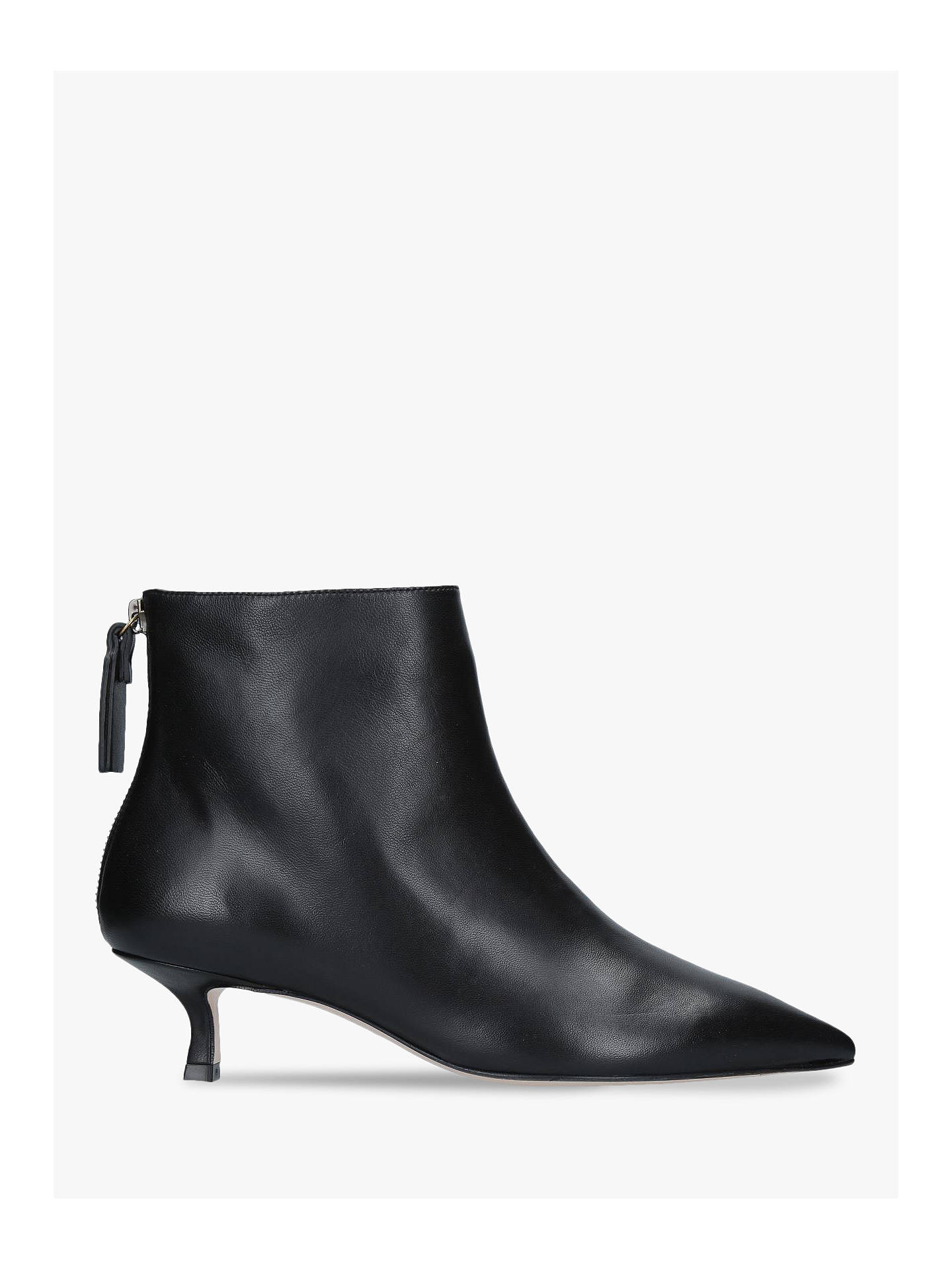 4b40e94e187 Stuart Weitzman Juniper Kitten Heel Ankle Boots, Black Leather at ...