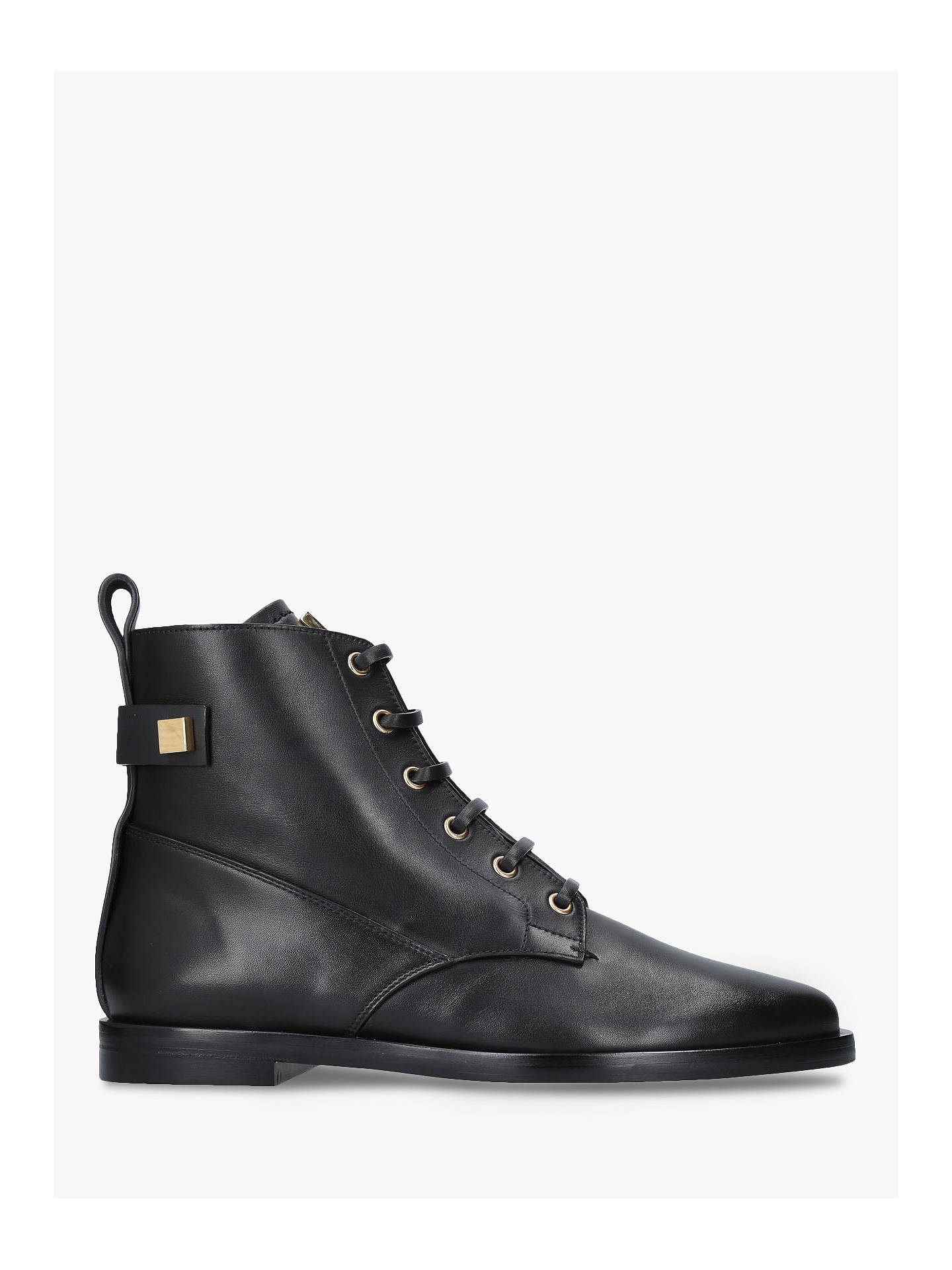 Buy Stuart Weitzman Ryder Lace Up Ankle Boots, Black Leather, 2 Online at johnlewis.com