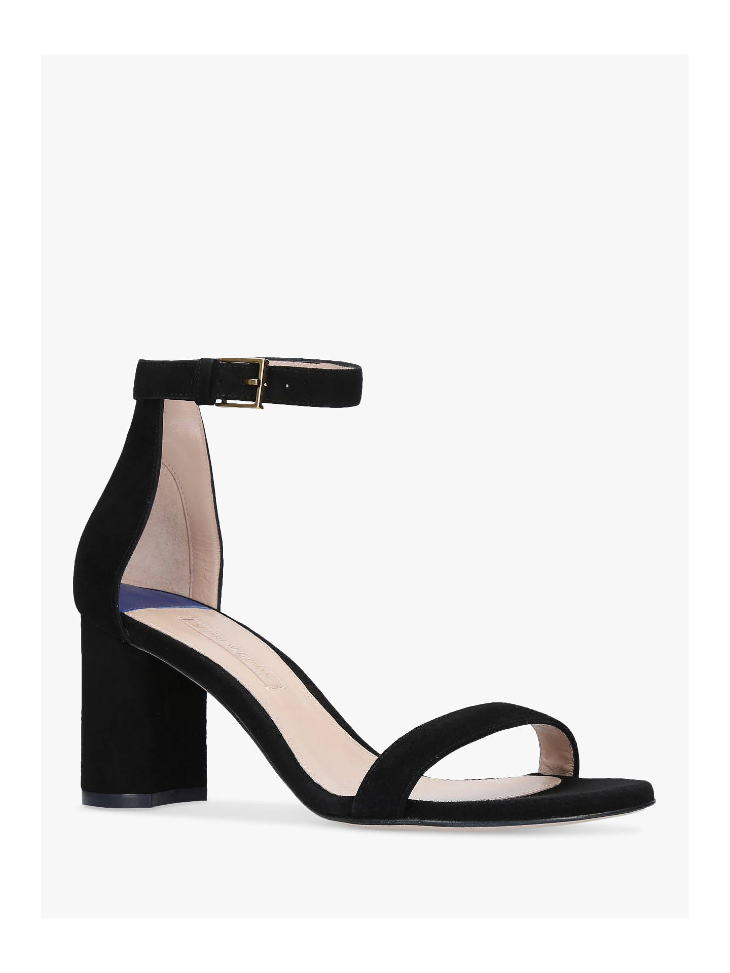 Buy Stuart Weitzman Less Nudist Block Heel Sandals, Black Suede, 6 Online at johnlewis.com