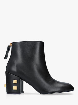 Buy Stuart Weitzman Zappa Galaxy Block Heel Ankle Boots, Black Leather, 8 Online at johnlewis.com