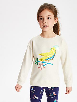 John Lewis & Partners Girls' Sequin Cockatoo Sweatshirt, Neutrals
