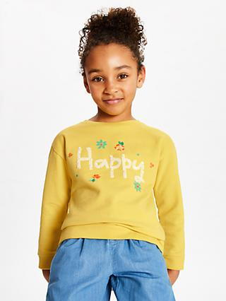 John Lewis & Partners Girls' Happy Flower Sweatshirt, Yellow
