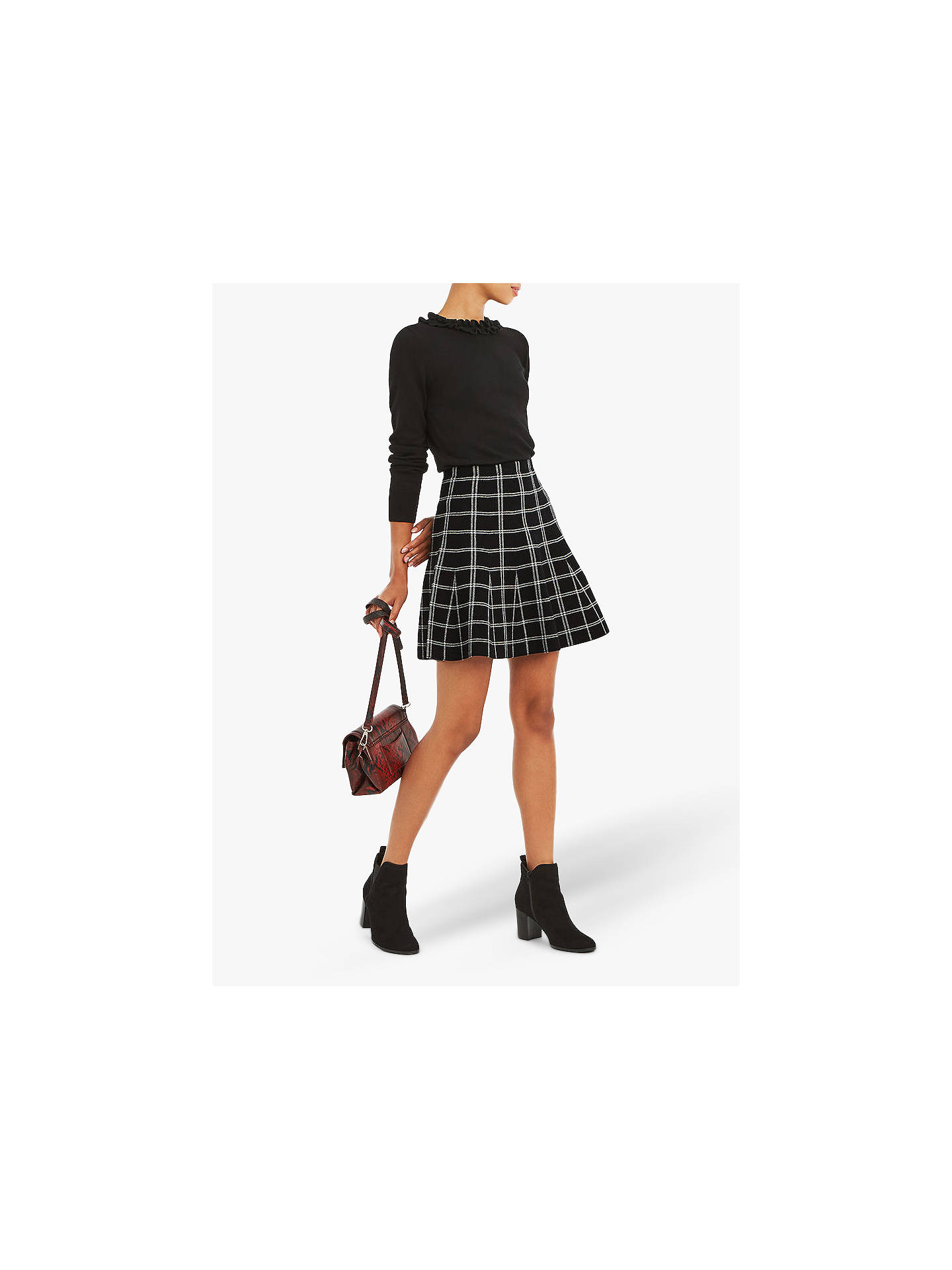 BuyOasis Charlotte Check A-Line Skirt, Black/White, L Online at johnlewis.com