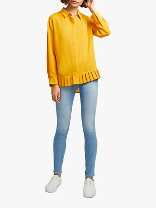 French Connection Crepe Hem Shirt, Calluna Yellow