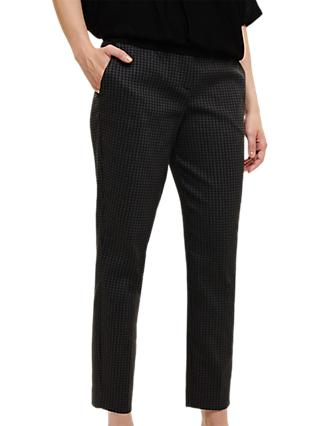 Phase Eight Carolyn Gingham Jacquard Trousers, Grey/Black