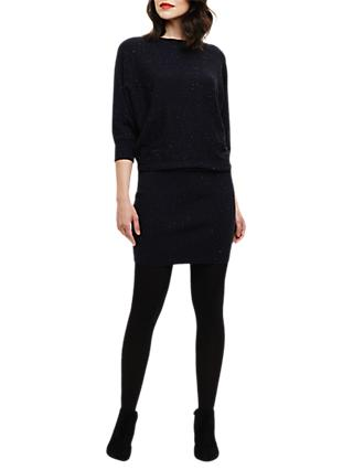 Phase Eight Yarn Batwing Sleeve Knit Dress, Navy